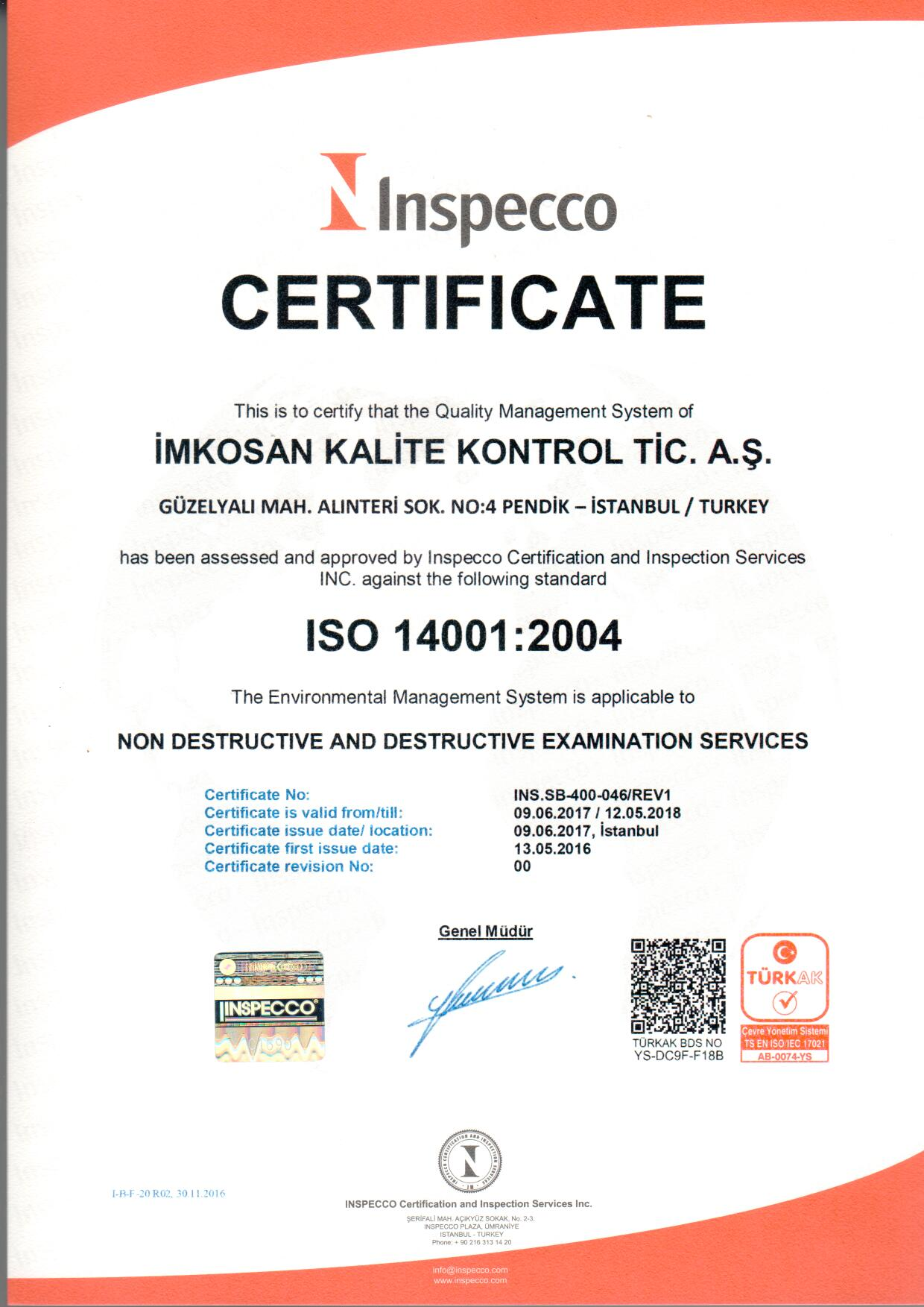 ISO 14001 Sertifikası