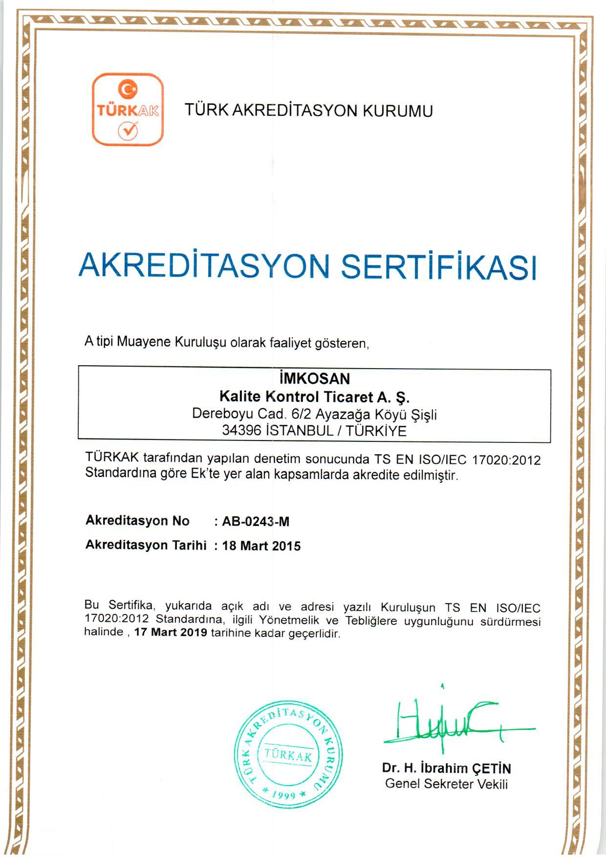 Türkak Sertifikası